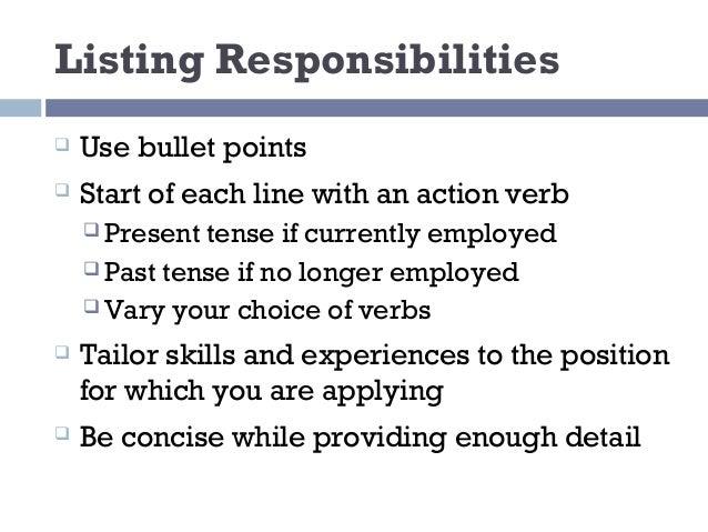 resume in present tense