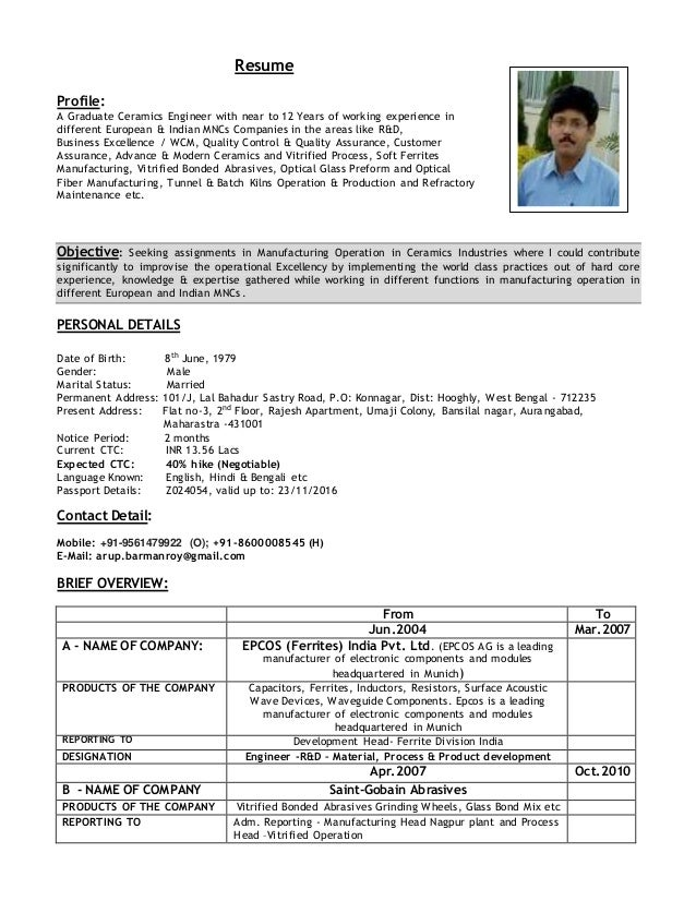 resume profile a graduate ceramics engineer with near to 12 years of working experience in - Ceramic Engineer Sample Resume