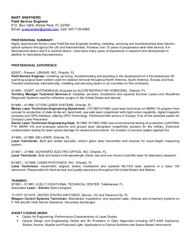 Service Engineer Resume Grude Interpretomics Co