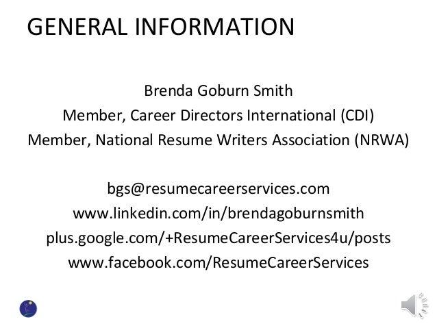 29 general information brenda goburn smith member career directors international cdi member national resume writers association