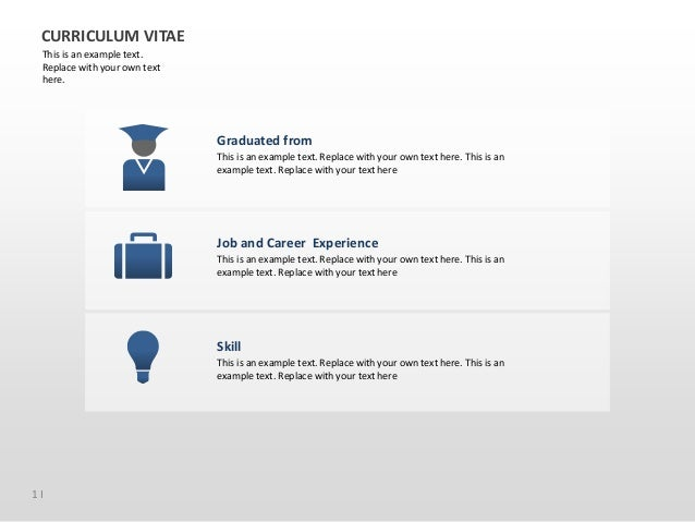 1 I CURRICULUM VITAE This is an example text. Replace with your own text here. Graduated from Job and Career Experience Sk...