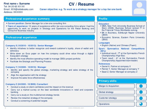 cv resume examples to download for free slideshare - Hizir
