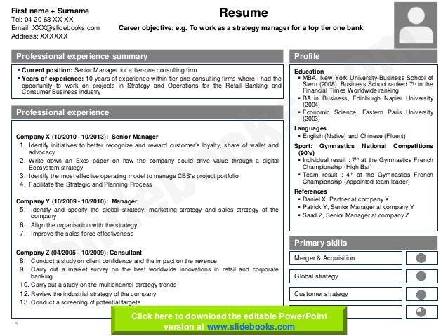 Resume cv templates in editable powerpoint 5 toneelgroepblik Images