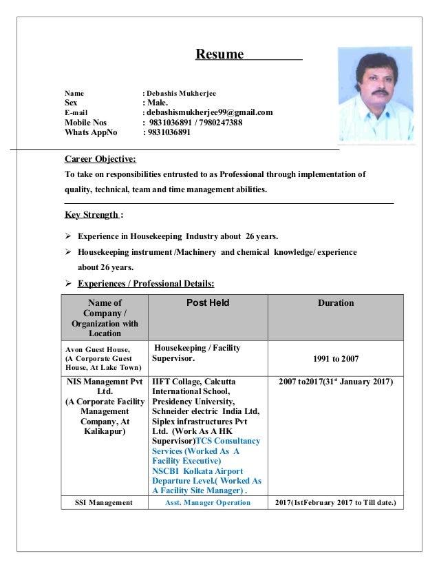 Debashis Resume for Facility management job, Hospitality management j…