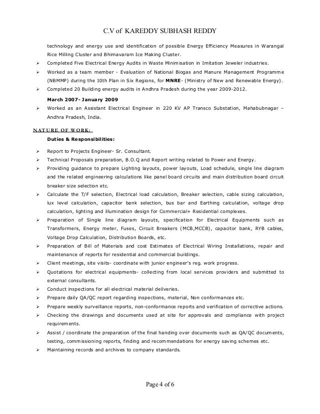Resume Electrical Design And Site Engineer Mep 9 Years
