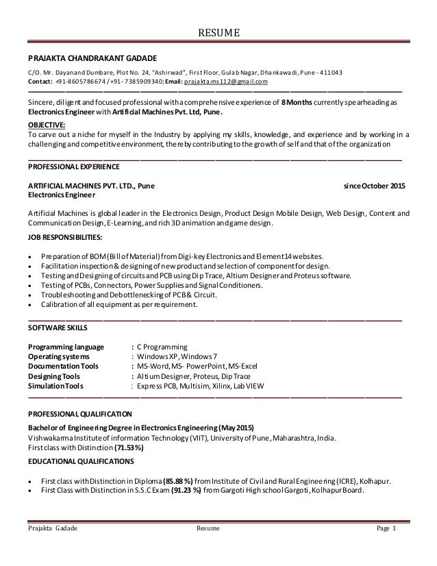 Resume Electronics Engineer With 8 Months Experience Updated May 9