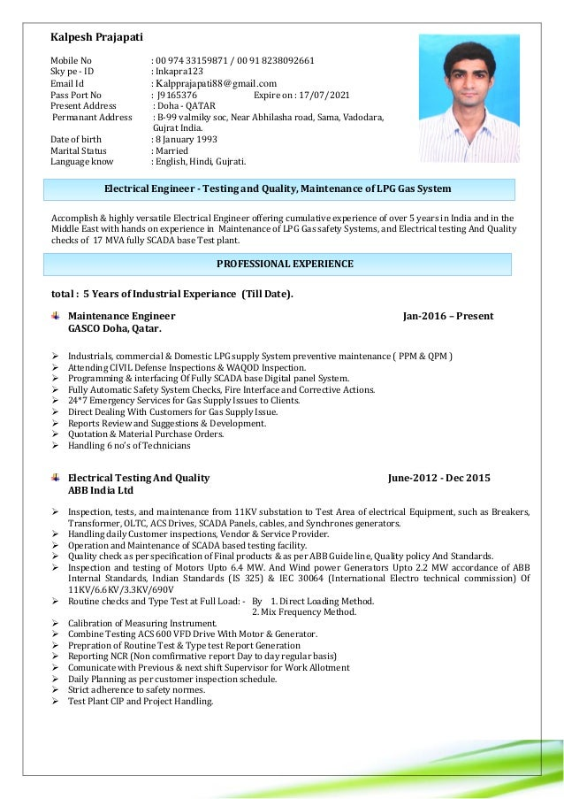 Resume Engineer Electrical Testing And Quality Lpg Gas