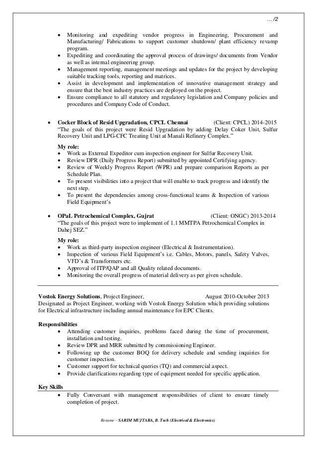 Resume Expediting Amp Inspection Engineer Oil Amp Gas