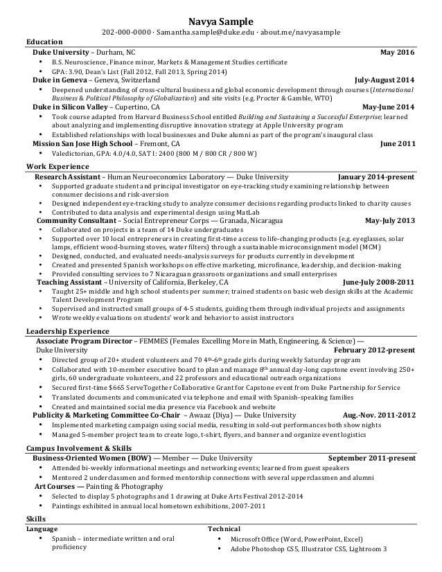 resume finance interest junior navya sample 202 000 0000 samanthasampleduke - Junior Photographer Resume