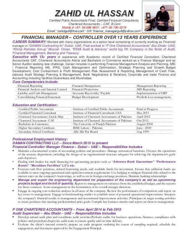 Resume finance manager