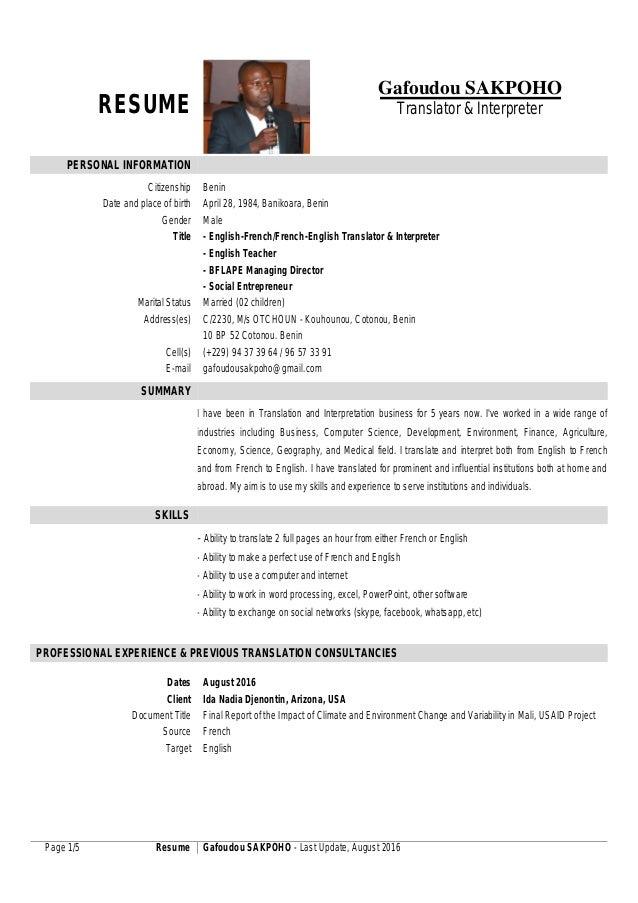 Image Result For Resume Translation