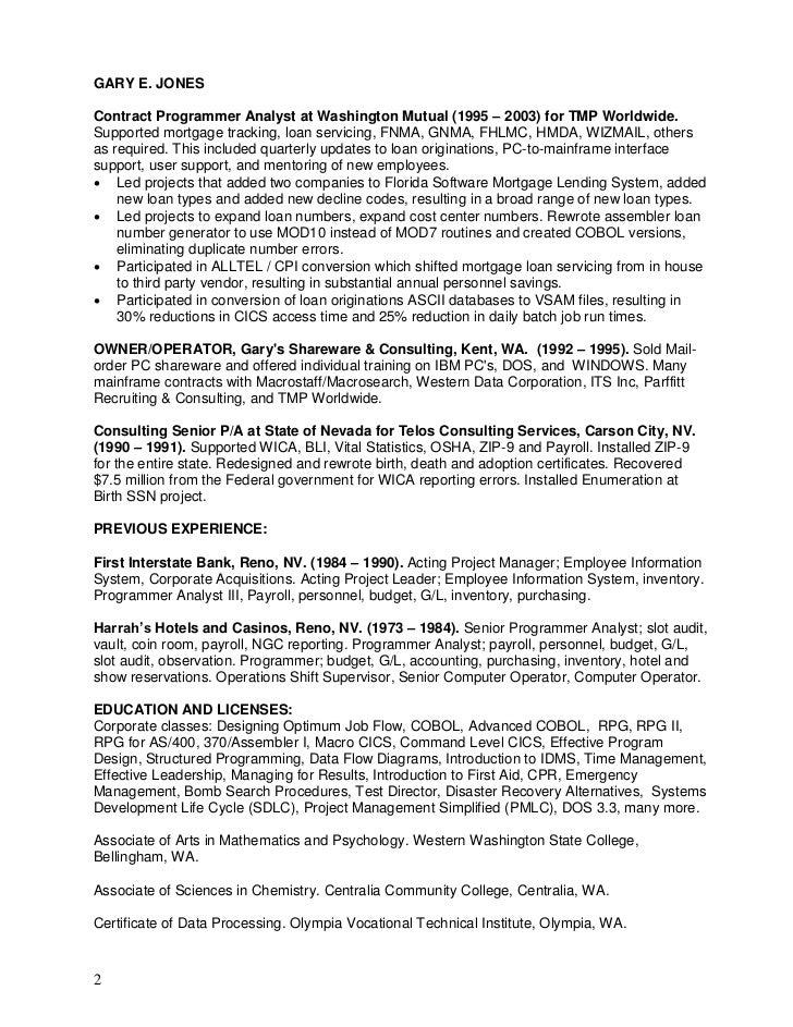 Resume Gary E Jones 3 Page Detail