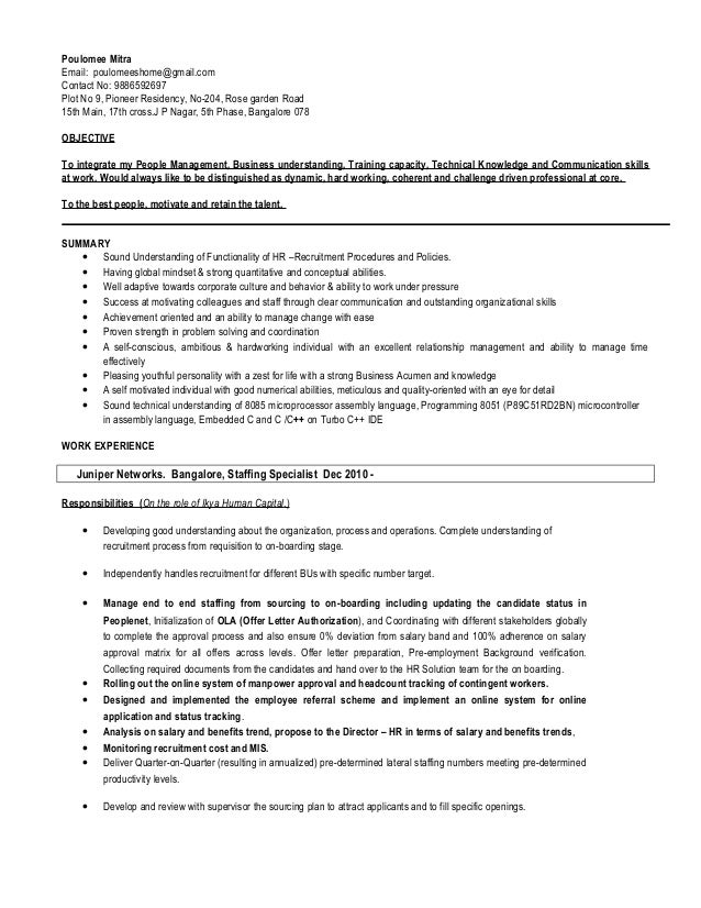 resume hr poulomee mitra