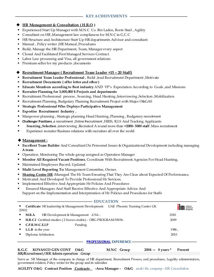 resume hr manager -consultant