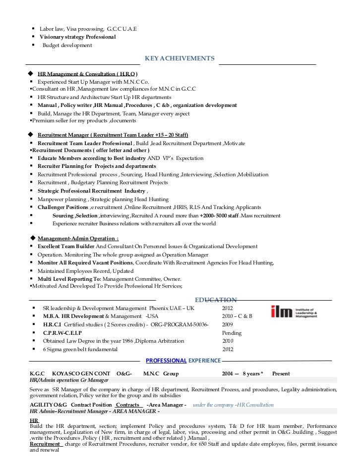 professional cv of hr manager