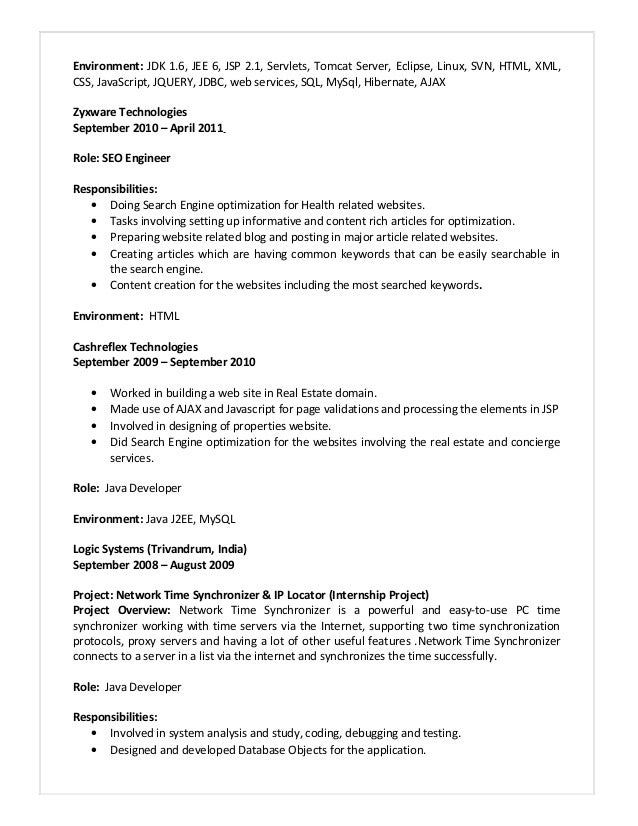 java j2ee resume format 28 images sle resume for