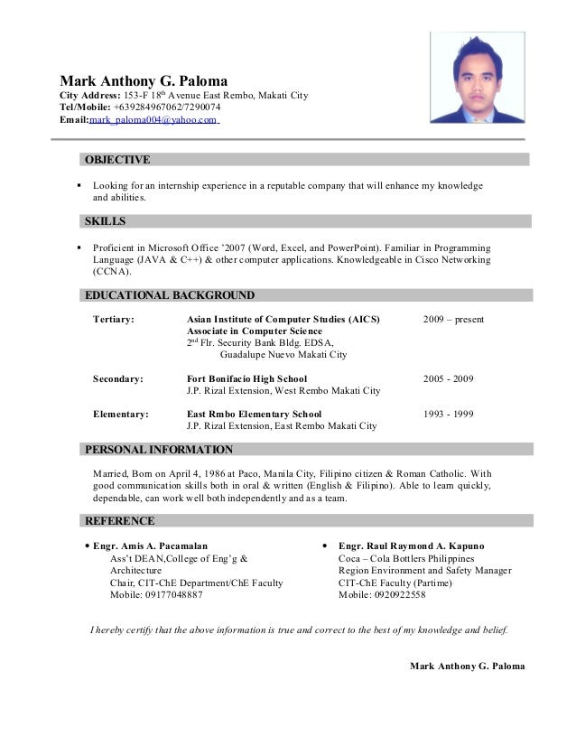 resume mark anthony paloma