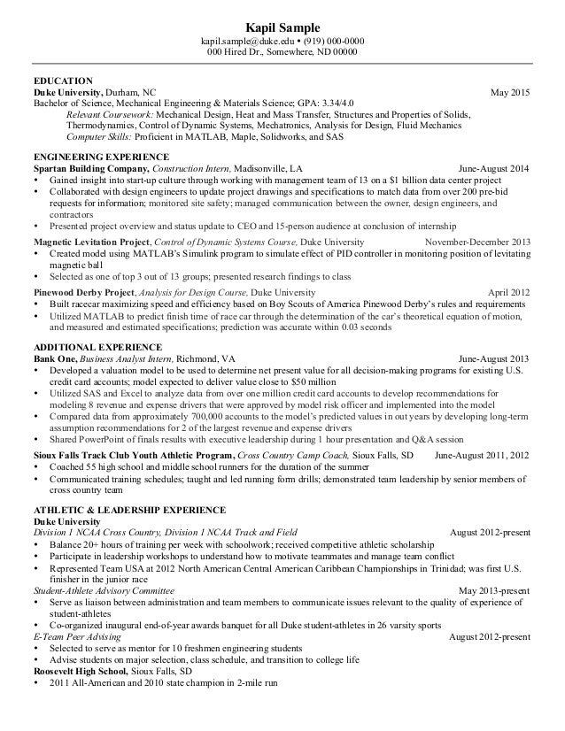 resume mechanical engineering senior kapil sample kapilsampledukeedu 919 000 - Mechanical Engineering Resume