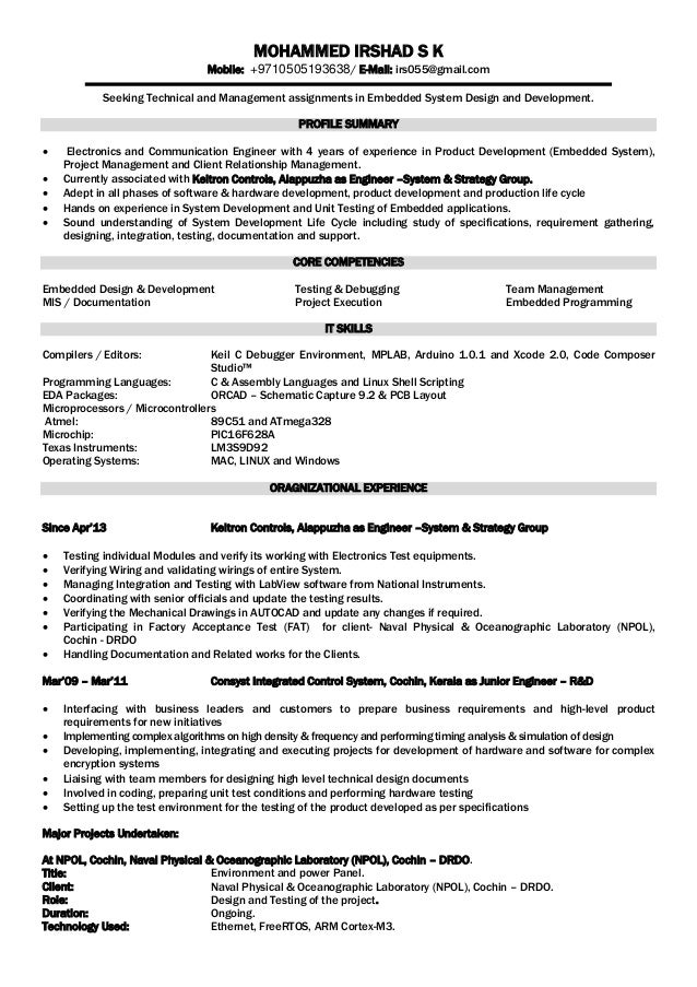 electronics engineer resume foramt mohammed irshad s k mobile 9710505193638 e mail irs055gmail - Communication Engineer Sample Resume