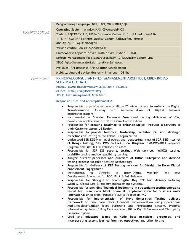 resume nagaraj v d test management architect