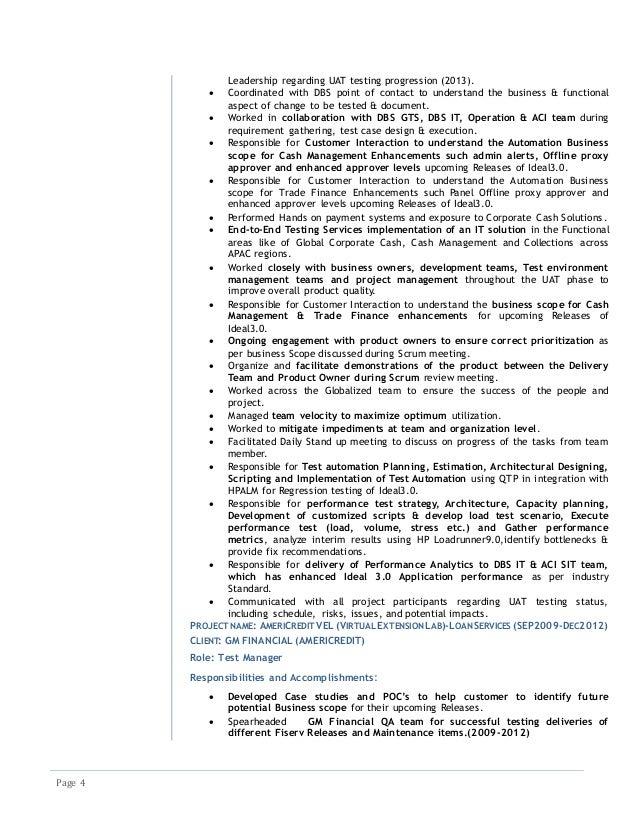 qtp architect resume