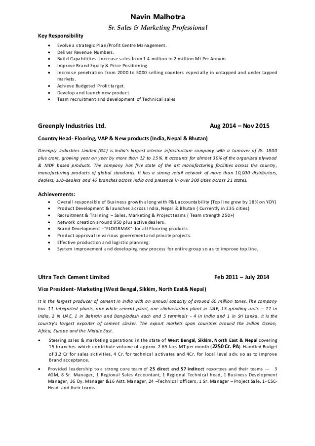 Resume Navin  Head Of Sales Marketing  Technical