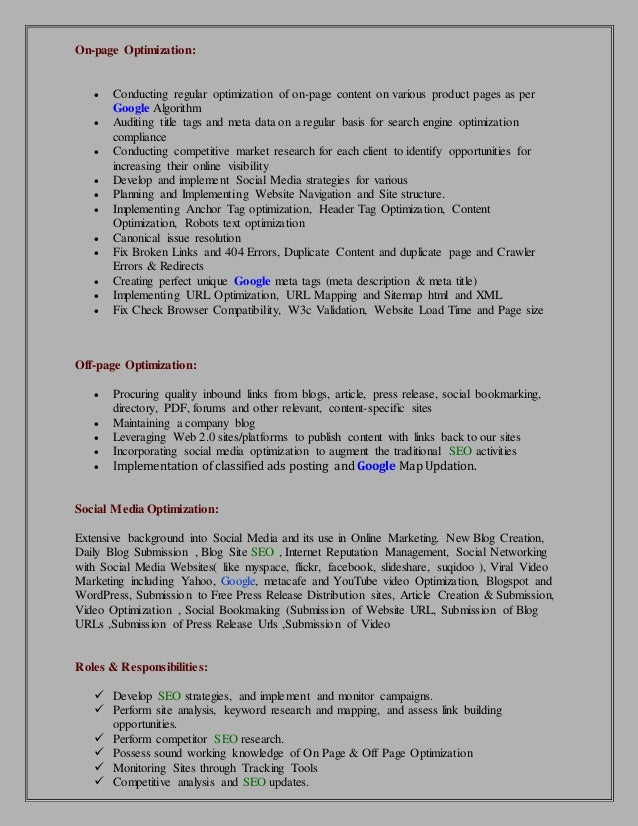 SEO Resume | SEO Executive Resume Format