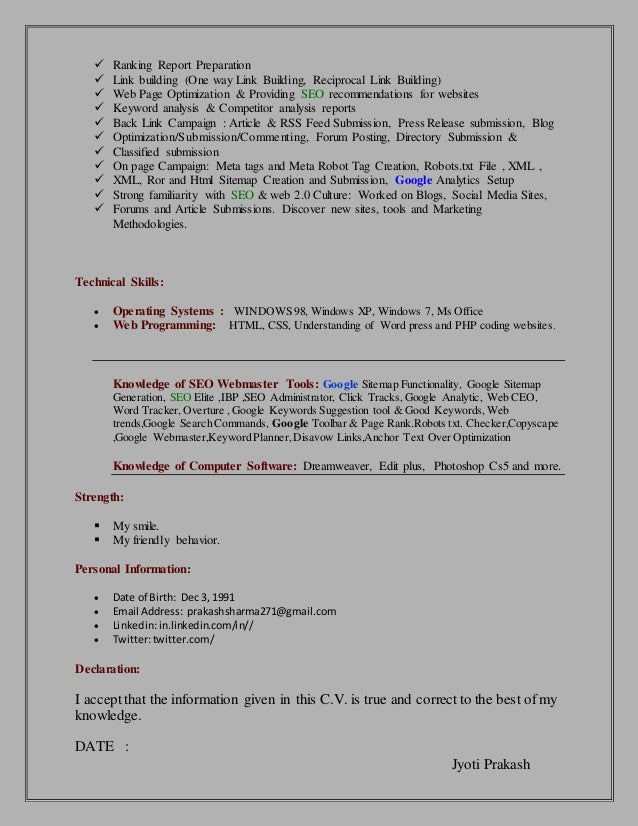 Seo Resume  Seo Executive Resume Format