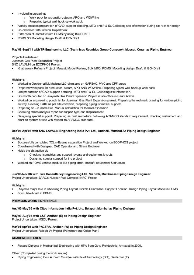 Piping Designer Resume] Professional Pdms Piping Designer Templates ...