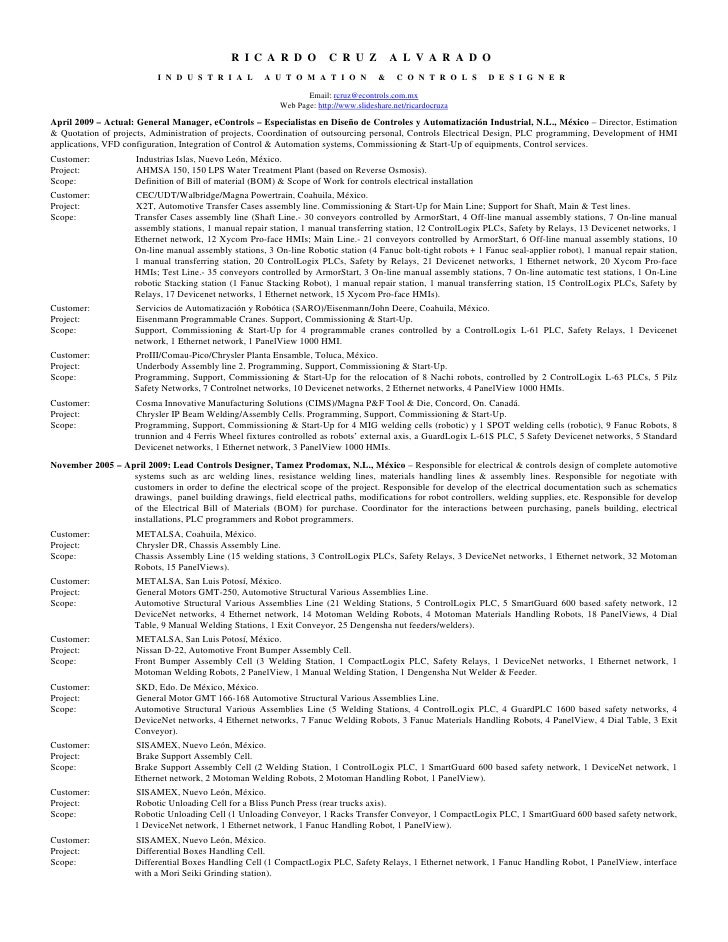 resume ricardo aug 2010 including lastest projects