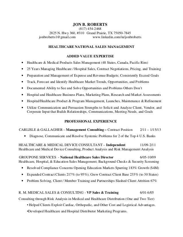 resume jon b healthcare national sales management