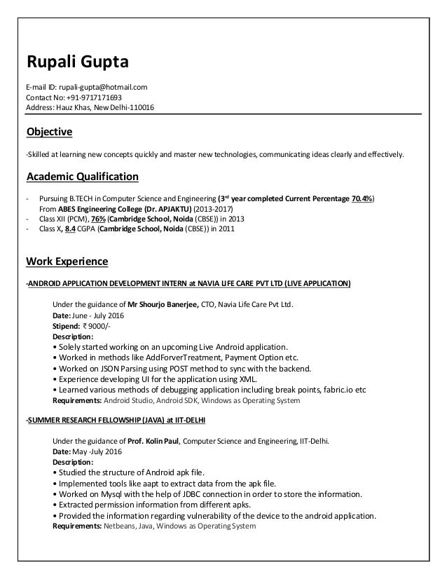 resume rupali gupta - Computer Science Resume Iit