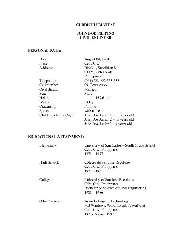 curriculum vitae john doe filipino - Resume Sample Sa Tagalog