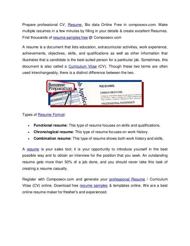 Prepare Professional Cv Resume Bio Data Online Free In Composecvcom Make