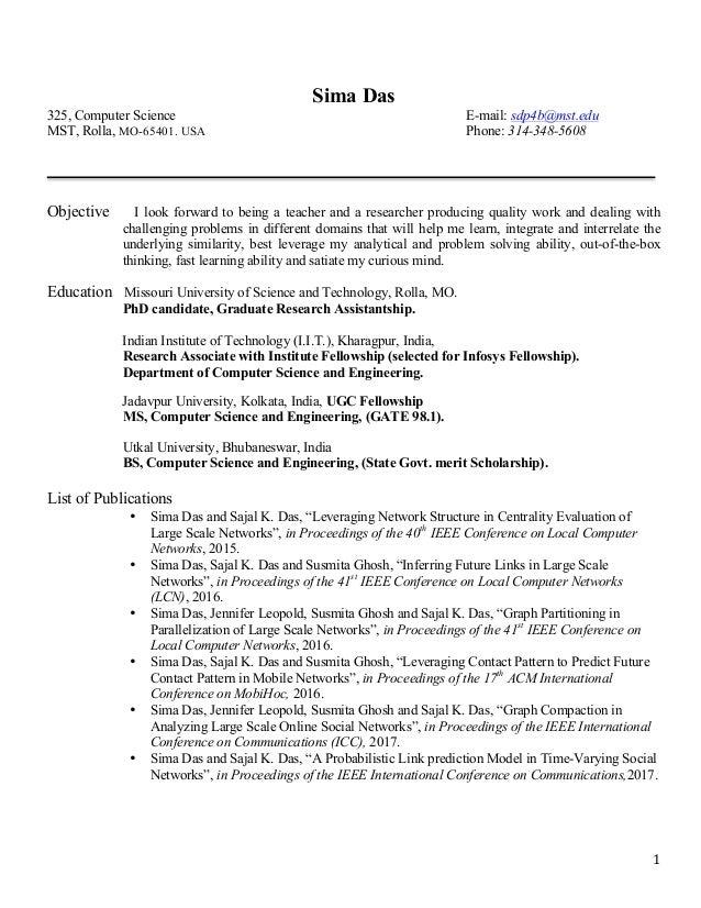 1 sima das 325 computer science e mail sdp4bmstedu - Resume Bs Computer Science