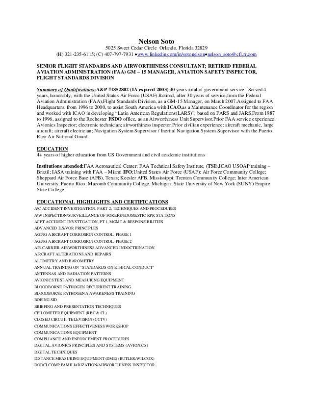 nelson soto 5025 sweet cedar circle orlando florida 32829 - Avionics Technician Resume