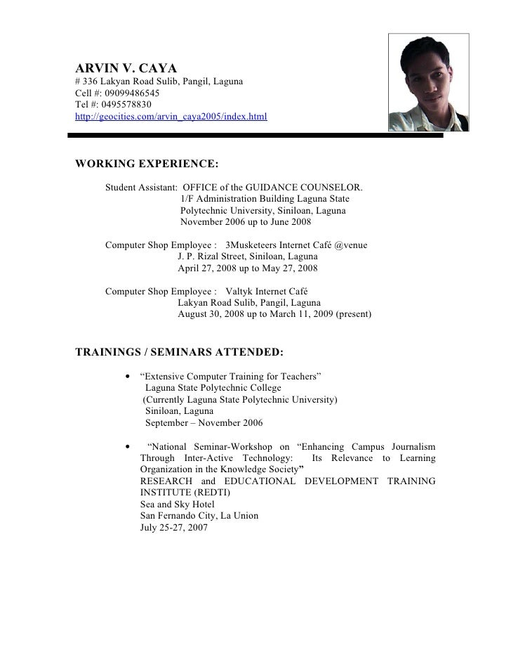 sample ng resume