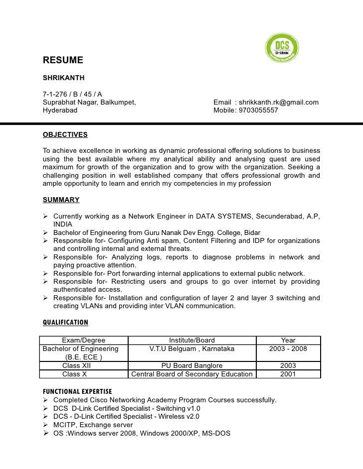 resume shrikanth 7 1 276 b 45 a suprabhat nagar - Dcs Engineer Sample Resume