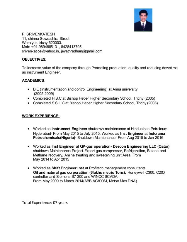 resume srivenkatesh instrumentation engineer