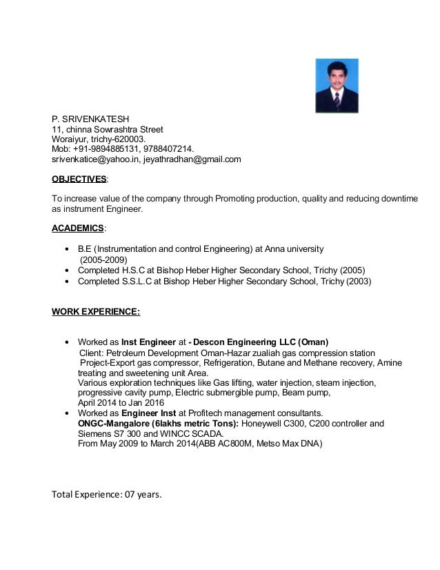 Resume Mechanical Engineer Oil And Gas