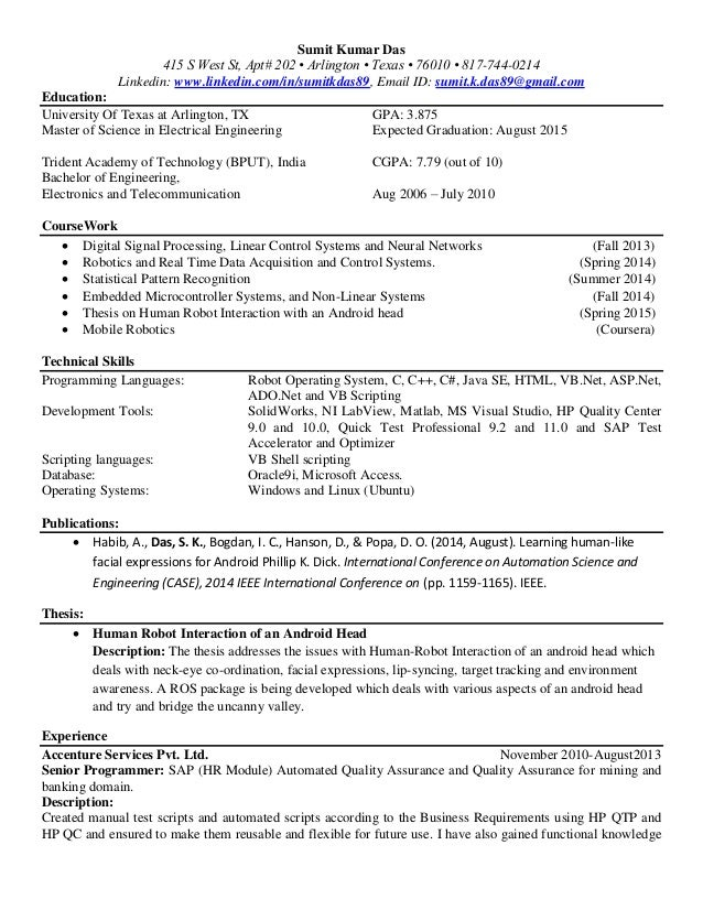 automation and robotics resume