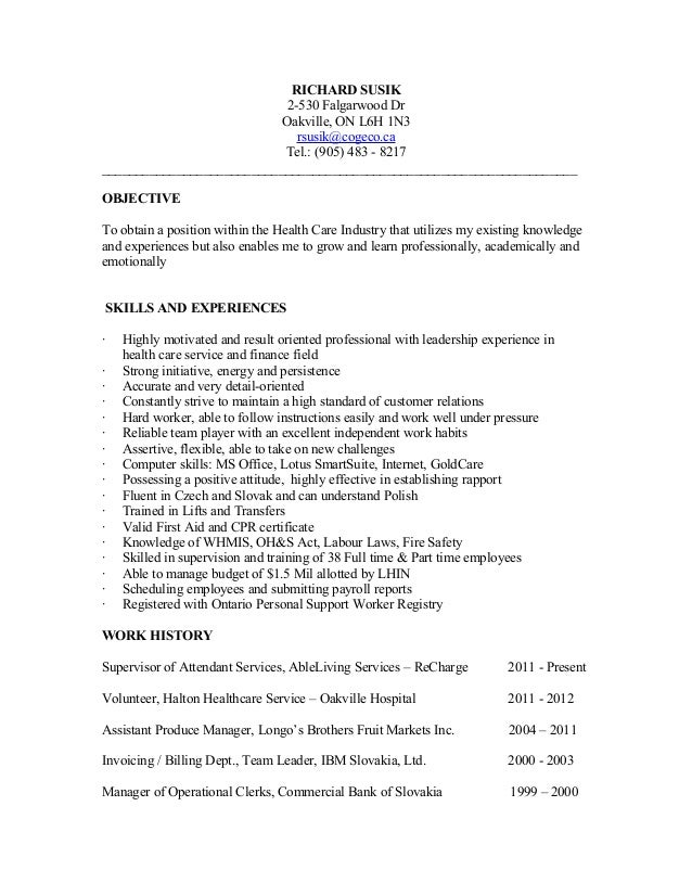 Resume community supervisor for Sample resume for personal care worker