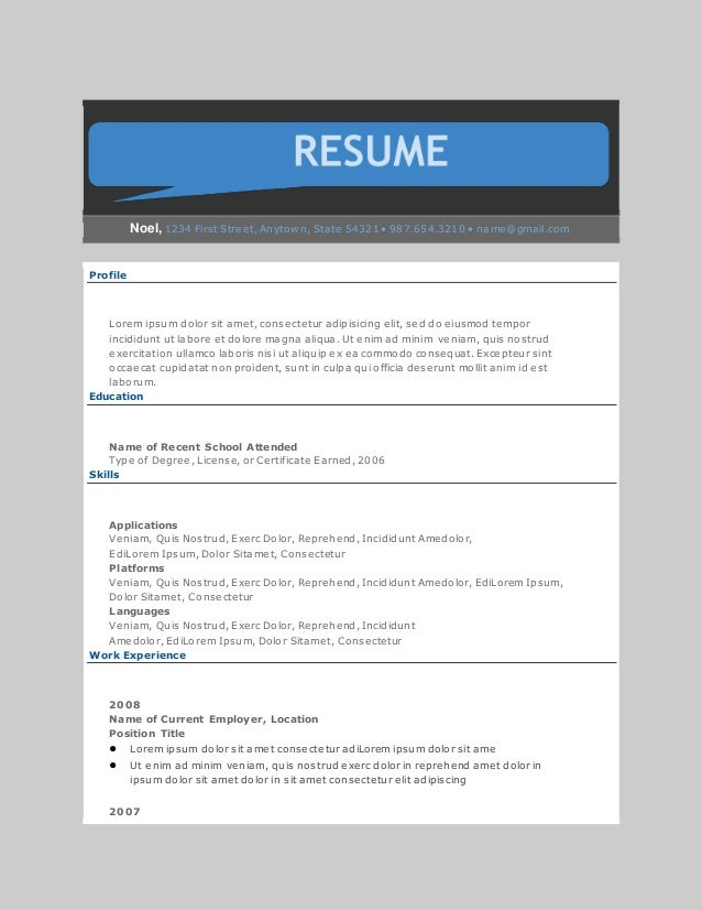 resume template  out of line