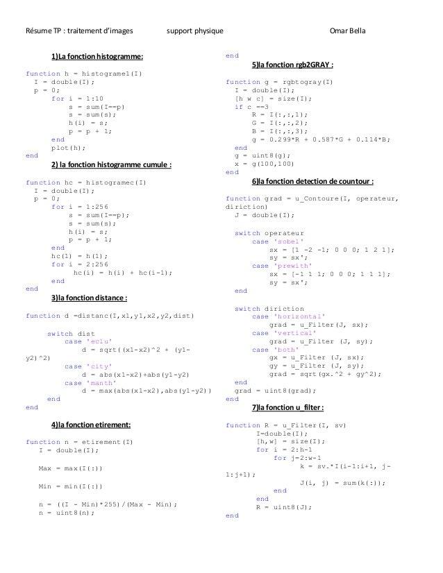 Résume TP : traitement d'images support physique Omar Bella 1)La fonction histogramme: function h = histograme1(I) I = dou...
