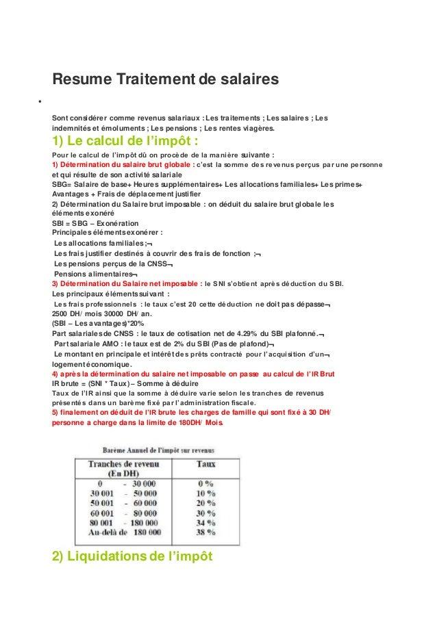 r u00e9sume traitement de salaires