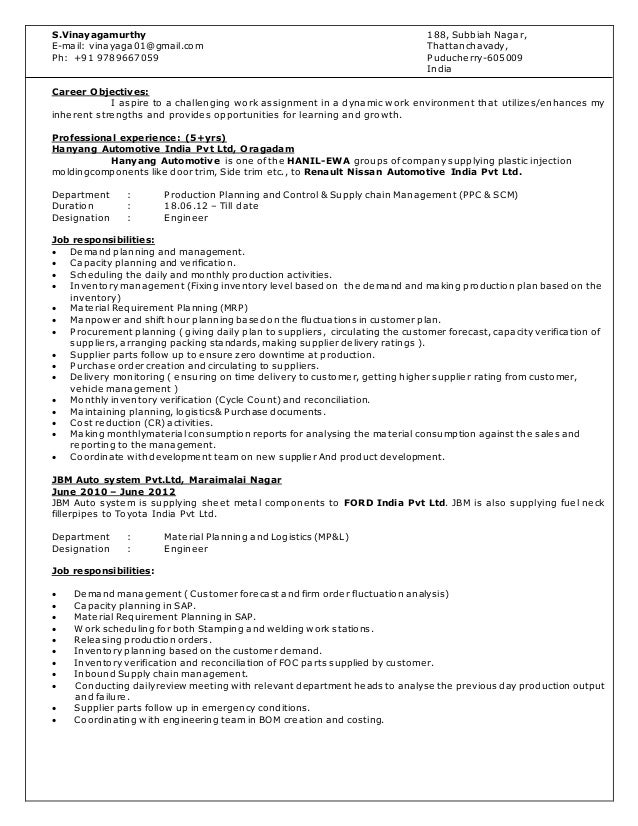Production Planning And Control Resume - Resume Ideas