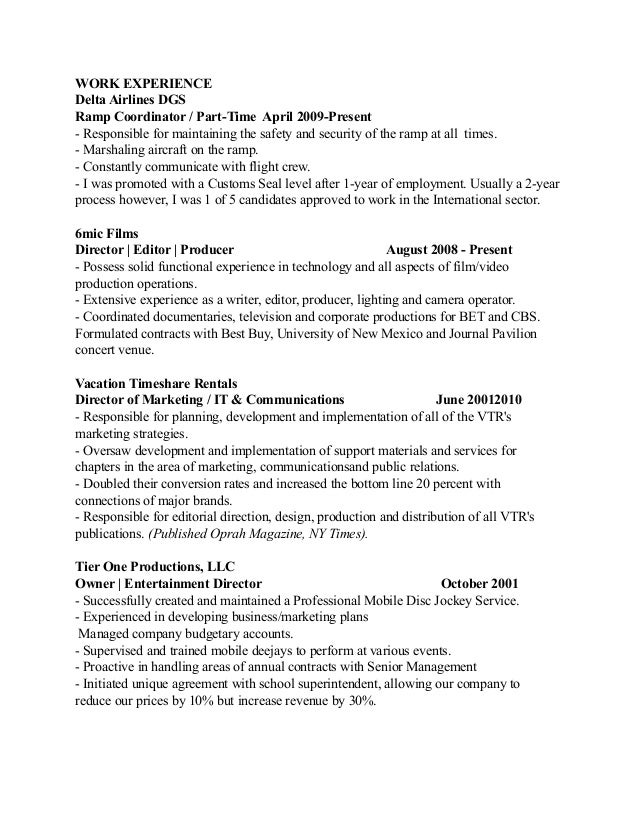 video jockey resume