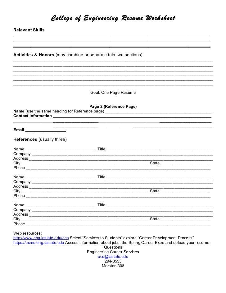 Resume Builder Worksheet Kenindlecomfortzone