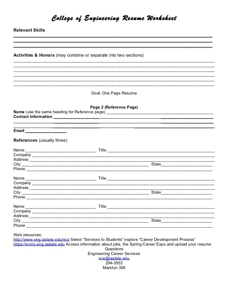 Worksheets Resume Worksheet resume worksheet 3 college of engineering worksheetrelevant