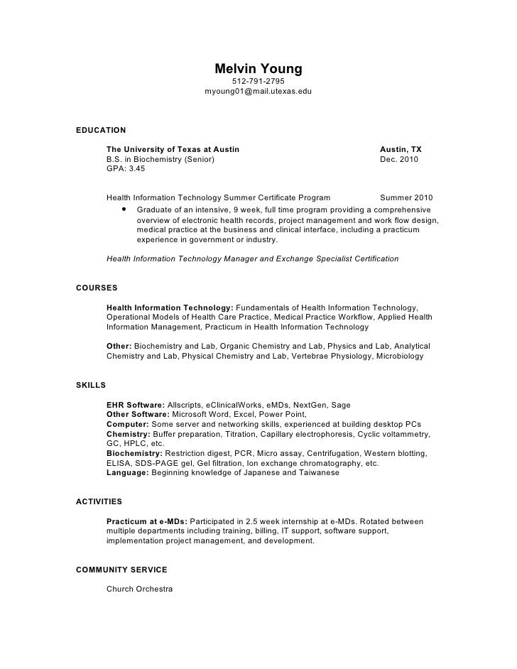 melvin young - Health Information Management Resume